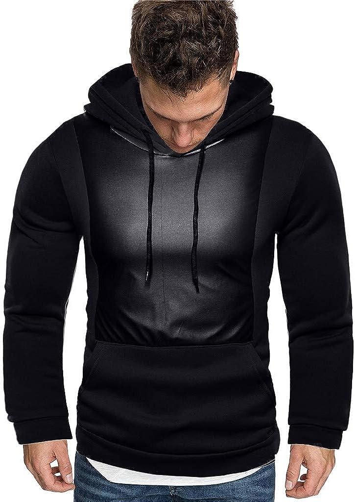 Hoodies for Men, Misaky Casual Colorblock Patchwork Long Sleeve Hooded Pullover Sweatshirts Junmper Tops