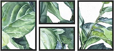 999Store Printed Green Leaves Multi Frame Painting