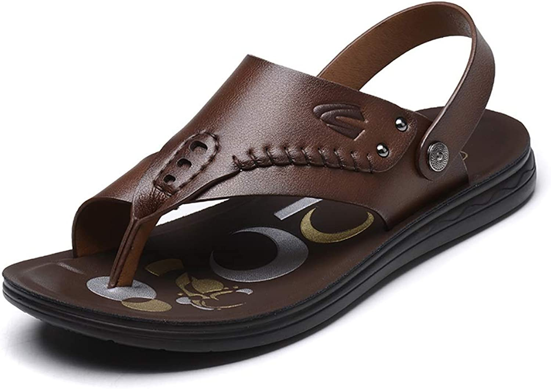 LQ Men's sandals Men's breathable toe leather sandals, summer polyurethane flat with beach shoes (color   A, Size   44)