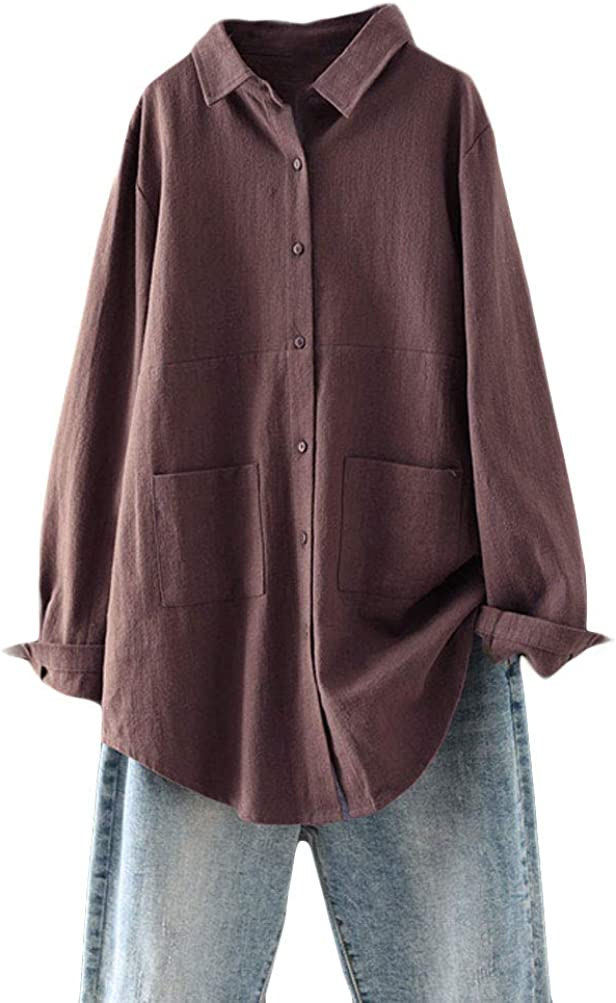 Minibee Women's Linen Shirts Button Down Long Tunic Tops Plus Size Blouse with Pockets