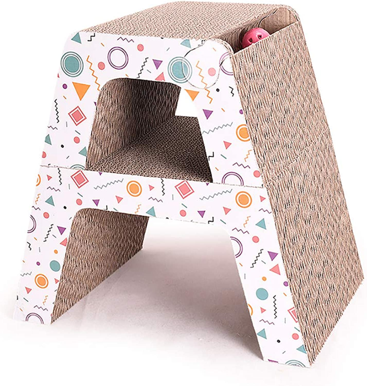 Pet cat Toy Grinding Claw Toy Track Bell Cat Scratch Board Letter A Double Layer Corrugated Paper 40  27.8  21.2 cm