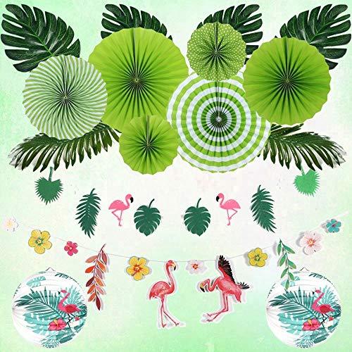 WHRP-decoration Girlande Deko Sommer Flamingo Party Dekoration Set Tropische Blätter Geburtstag Hawaiian Luau DschungelLaternen Grün Fans 1. Tropischen Dekor