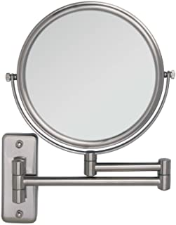 Zadro Two Sided Dual Arm Wall Mount Mirror, Satin Nickel, 5X-1X