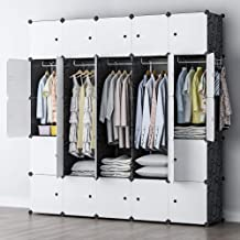 YOZO Modular Wardrobe Clothes Closet Plastic Dresser Multi-use Portable Cube Storage Organizer Bedroom Armoire, 25 Cubes, Depth 18 inches, Black