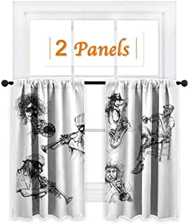maisi Jazz Music Decor, Curtains and Valances, Sketch Image of Jazz Players Playing Instruments Trumpet and Saxophone Music Decor, for Kitchen (W72 x L45 Inch) Black White