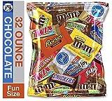 (32 Ounce) Bulk Variety Assortment Mix Chocolate Pack Plain & Peanut M&M's, Snickers, Milky Way, Twix, Reese's, York Mints, 100 Grand Bars, Almond Joys, & Kit Kats