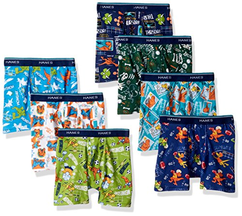 Hanes Boys Toddler 7-Pack Days of The Week Boxer Brief, Assorted, 2/3