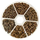PH PandaHall 1070pcs 6 Sizes Split Double Jump Rings Antique Bronze Small Key Chain Ring Double Loops Open Key Chains for Home Car Keys Organization and Ornament Crafts (4mm, 5mm, 6mm, 7mm, 8mm, 10mm)
