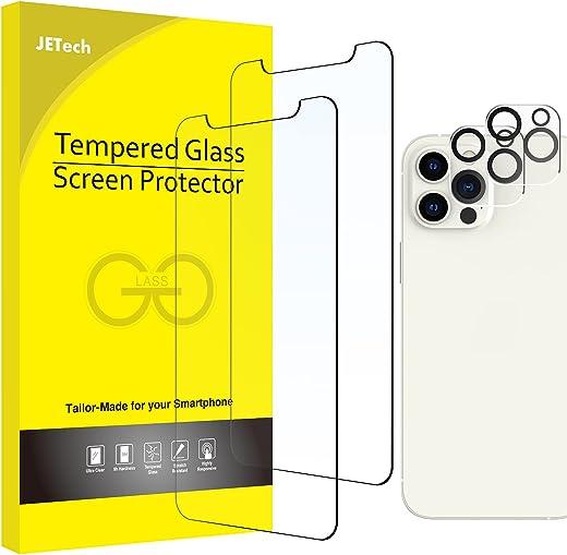 JETech Protection D'écran et Protection D'objectif de Caméra Arrière Compatible avec iPhone 12 Pro Max 6,7 Pouces, Film en Verre Trempé, 2 Pièces...