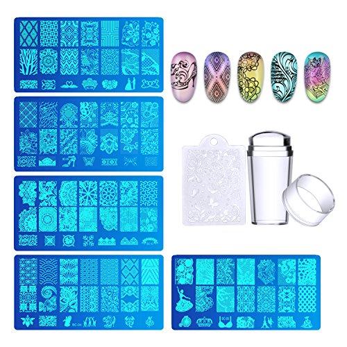 Biutee 5pcs Nagel Stempel, Maniküre Stempel Schablonen Stamping Schablone für Nägel, Fingernaegel Stempelset