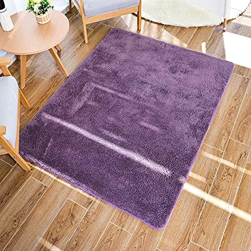 Baixtuo Alfombra Salon Grandes Shaggy - Alfombras Dormitorio Modernas Pelo Largo Lavables - para Comedor, Dormitorio, Pasillo y Habitación Juvenil (púrpura, 80*120)