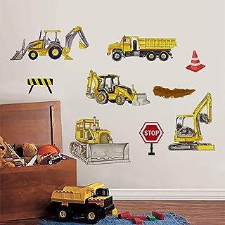 Runtoo Pegatinas de Pared Coche Vehículos Stickers Adhesivos Vinilo Construcción Excavadora Decorativas Infantiles Habitac...