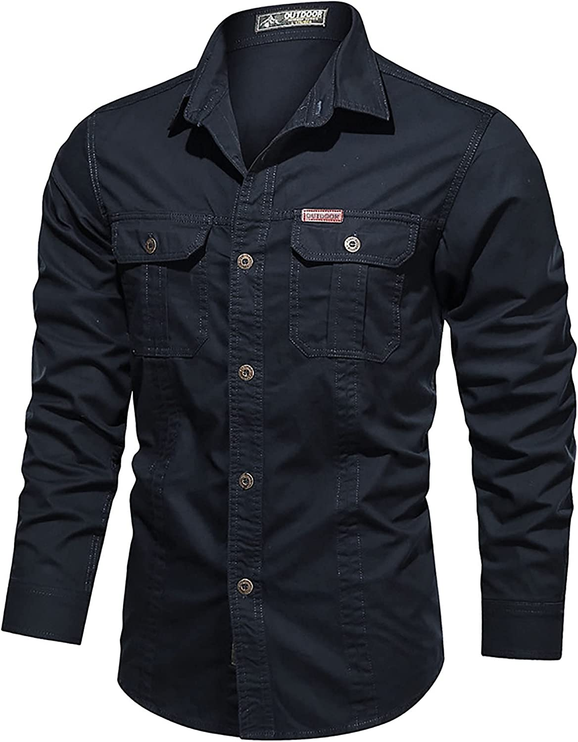 LZJDS Men ' s Plus Size Long Solid Shirts with Pocket Casual Button Down Protection Work Shirts