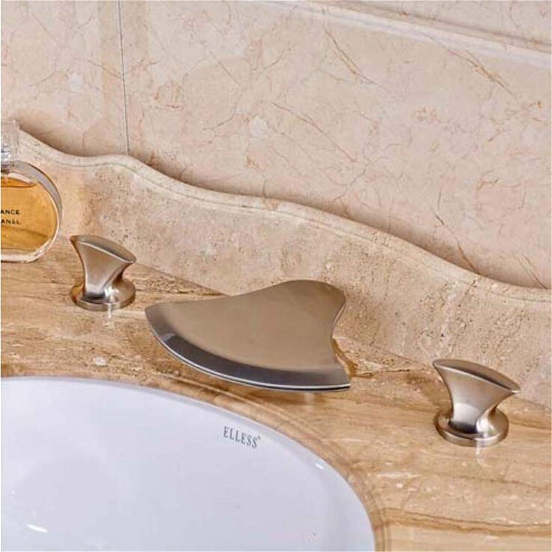 Wasserhahn Waschtischmischer Arbeitsplatte Verbreitet 3 Stücke Waschbecken Wasserhahn Deck Montiert Wasserfall Auslauf Doppel Griffe Mischbatterie