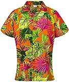 King Kameha Blusa hawaiana casual para mujer, con botones en el frente, manga corta, impresión de hojas de piña - naranja - XX-Large