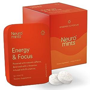 Neuro Mints Nootropic Energy Mints | Caffeine + L-theanine + B Vitamins | Sugar Free + Gluten free + Vegan (6 Pack = 72 Pieces, Cinnamon)