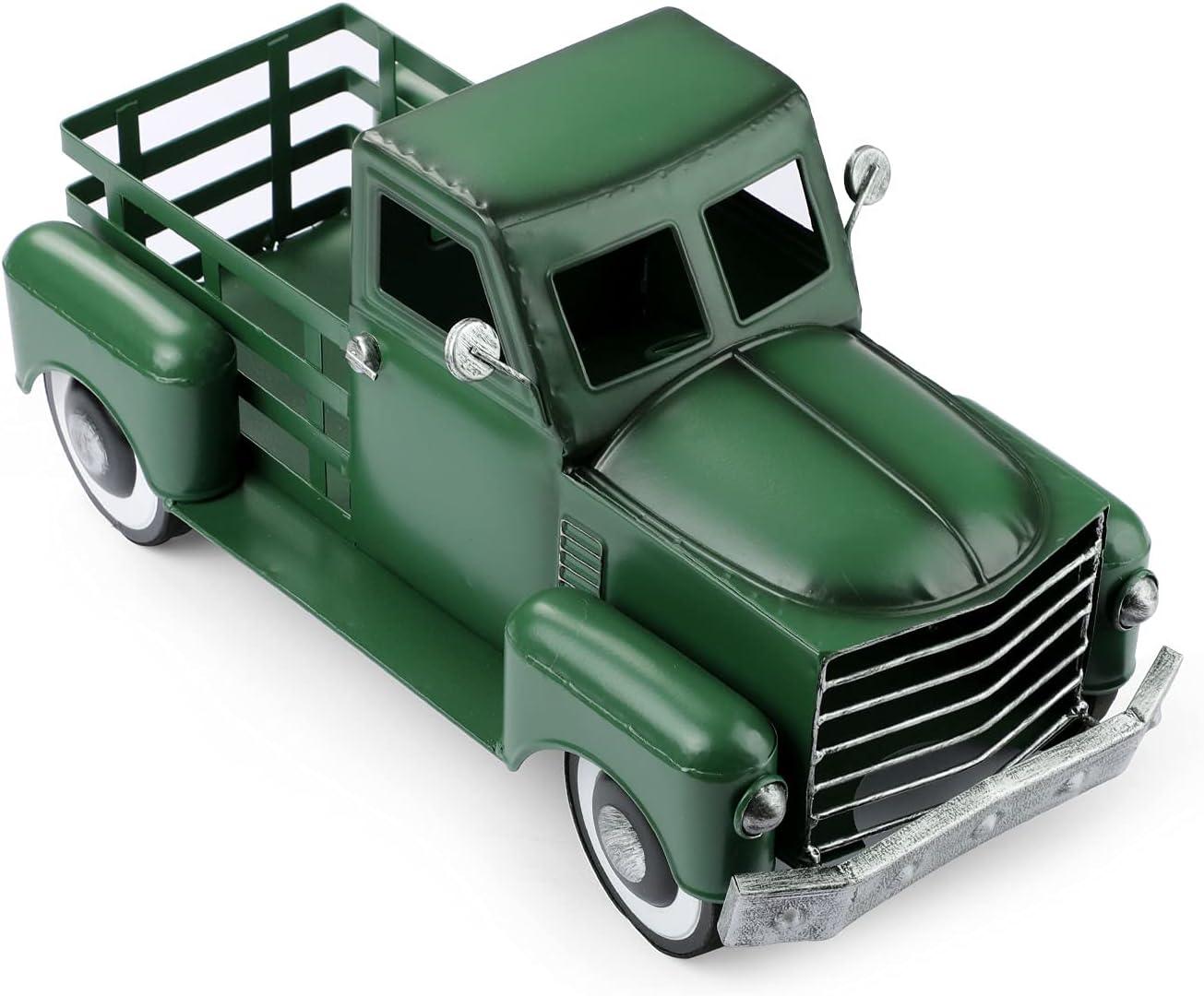 Pylemon Vintage Green Truck Décor, Farmhouse Green Truck Christmas Decoration, Decorative Tabletop Storage & Pick-up Metal Truck Planter (Large Size)