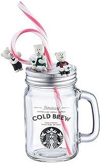 STARBUCKS スターバックス スタバ コップ グラス メイソンジャー コールドブリュー ガラス瓶 クマ 熊 ベア ベアリスタ POP かわいい 食器 ロゴ 女神 コーヒー 海外限定