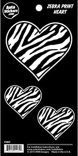 Zebra Print Heart Family Vinyl Car Stickers 3 Decals