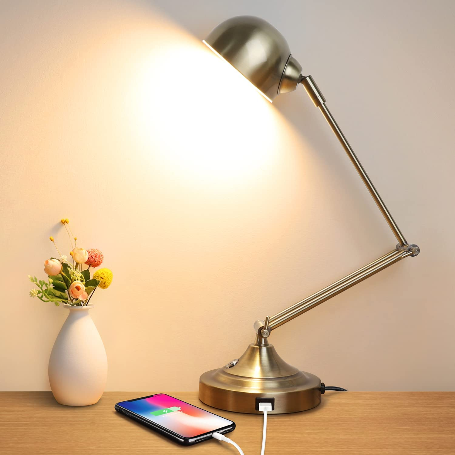 3-Color in 1 OFFer LED Desk Lamp with sale USB Fu Charging Arm Swing Port