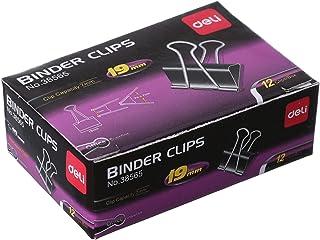 Deli 38565 Binder Clips, 12 Pieces, Black