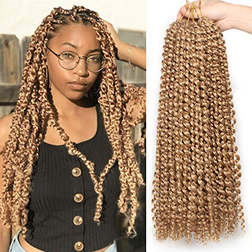 Leeven 24 Inch 2 Packs Water Wave Passion Twist Crochet Hair Blonde Hot Water Setting Synthetic Passion Twists Crochet Braids Hair for Butterfly Locs 36 Strands 27#