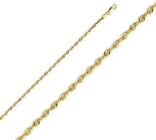 14k Yellow Gold SOLID 3mm Polished Diamond Cut SOLID Rope Chain Necklace with Lobster Claw Clasp