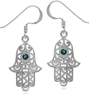 Silvershake Genuine London Blue Topaz 925 Sterling Silver Evil Eye on Hamsa Hand Earrings
