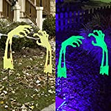 """Lulu Home Halloween Yard Stake, 26.6"""" Glow in The Dark Metal Demon Hands with Green Fluorescent Layer, Halloween Yard Sign Stakes for Outdoor Front Yard Lawn Garden Decorations"""