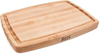 John Boos Block CB1050-1M2014150 Maple Wood Oval Cutting Board with Juice Groove, 20 Inches x 14 Inches x 1.5 Inches