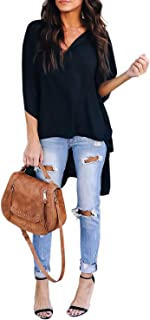 Asvivid Womens Solid V-Neck Bell Short Sleeve High Low Tunic Tops Chiffon T-Shirt Blouse S-2XL