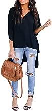 Asvivid Womens Solid V-Neck Bell Short Sleeve High Low Tunic Tops Chiffon T-Shirt Blouse S-2XL