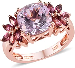 925 Sterling Silver Promise Ring Vermeil Rose Gold AA Premium Kunzite Pink Tourmaline Women Jewelry Gift Size 7