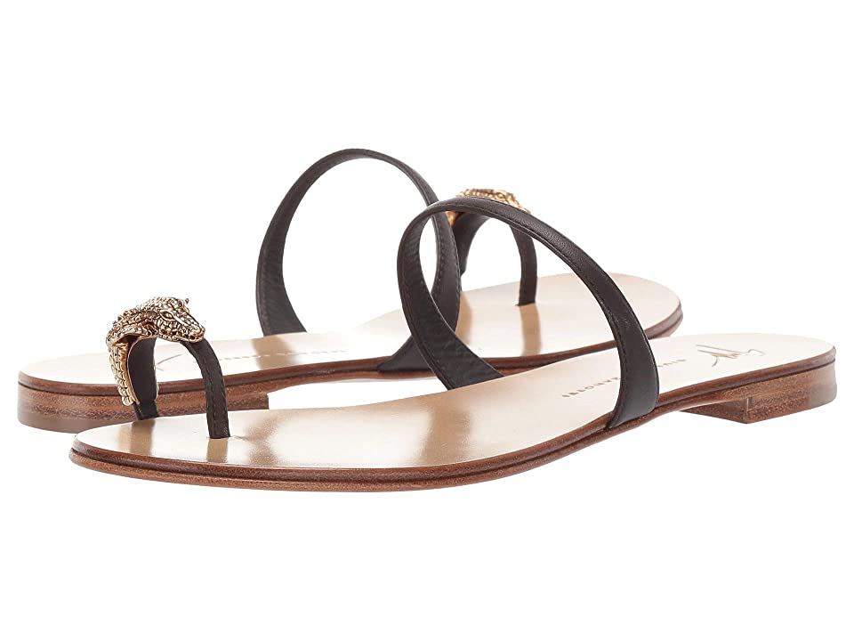 Giuseppe Zanotti Ring Alligator Flat Sandal (Nappa Moropaco) Women