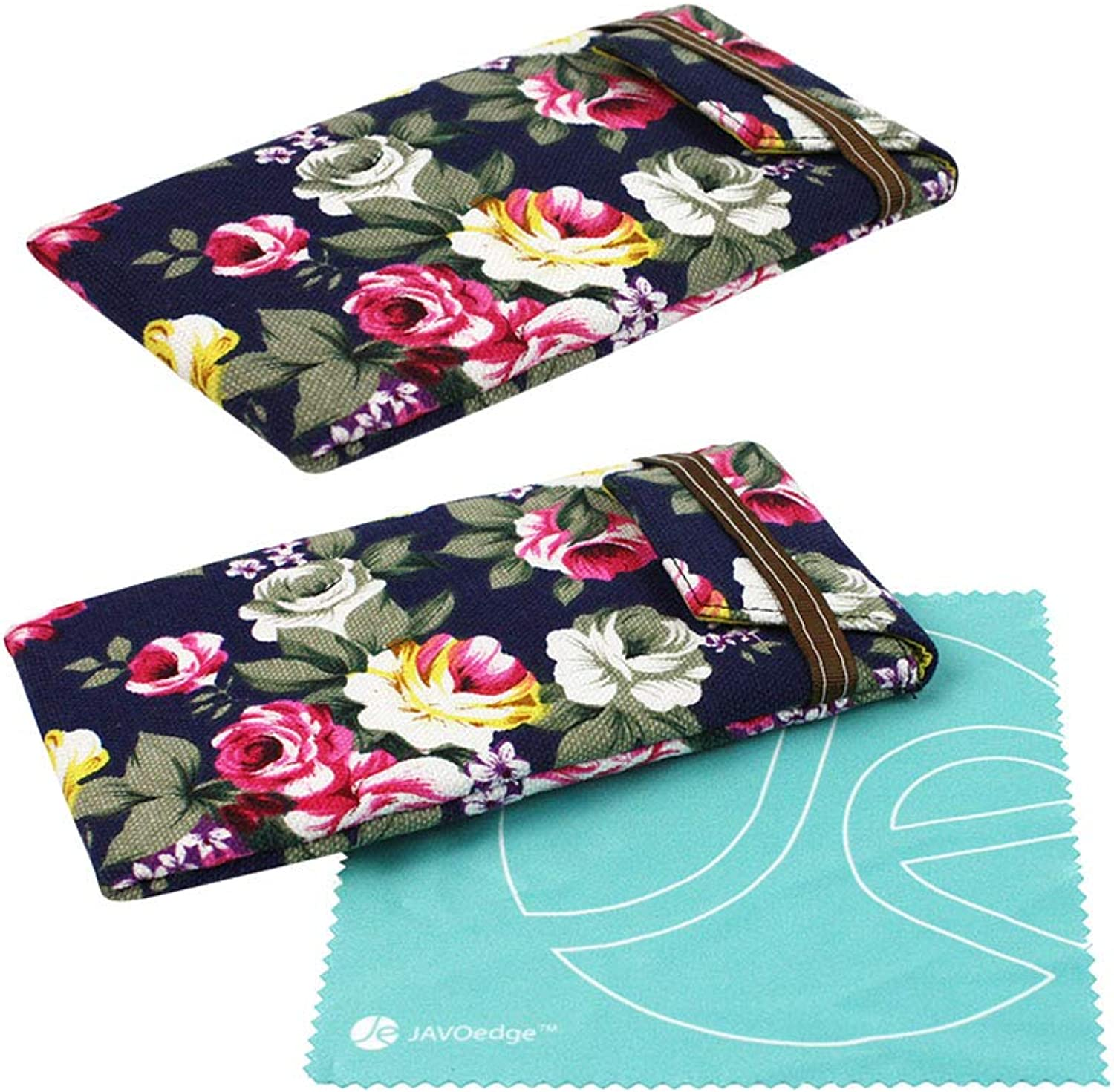 [2 PACK], JAVOedge Soft Slip In Floral Eyeglass Pouch Case Plus Cleaning Cloth