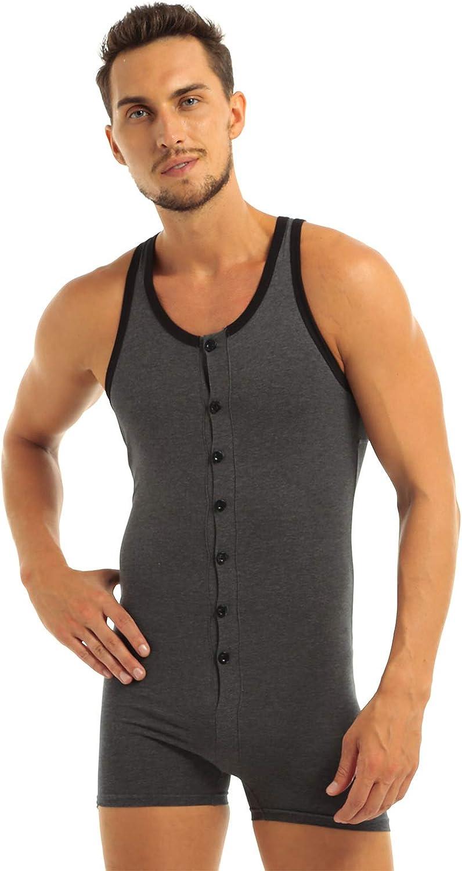 Agoky Mens Cotton Breathable Workout Bodysuit Sleeveless Button Down Undershirt Leotard Top Boxer Brief