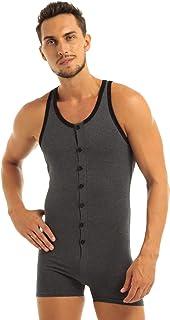 Mono Ajustado Body de Algodón para Hombre Pijamas de Dormir Cómodo Sudaderas Deportivas sin Mangas