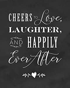 2 City Geese Cheers to Love Laughter and Happily Ever After Sign for Wedding   Chalkboard Look On Thick Cardstock Paper   (1) 8x10 Wedding Reception Decoration
