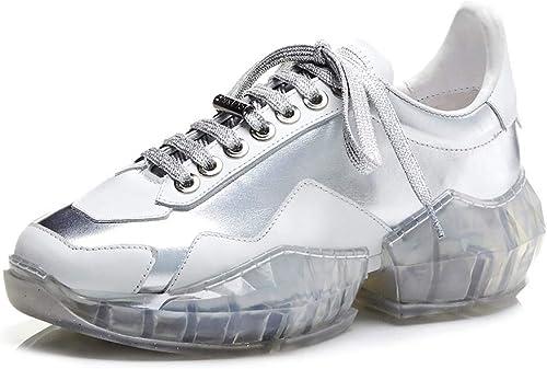 XLY Moda de damen Chunky Encaje de papá Hausschuhe, Claro Sole Casual Todos los días Silberforma Deportes schuhe para Caminar,35