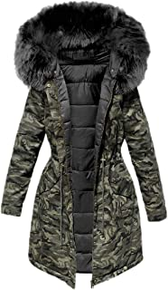 Womens Long Parka Thicken Warm Coat Hoodie Camouflage Jacket Outerwear