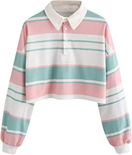 G&Kshop Women Crop Tops, Casual Long Sleeve Striped T Shirt Drop Shoulder Fashion Collared Pullover Blouse (White, S)