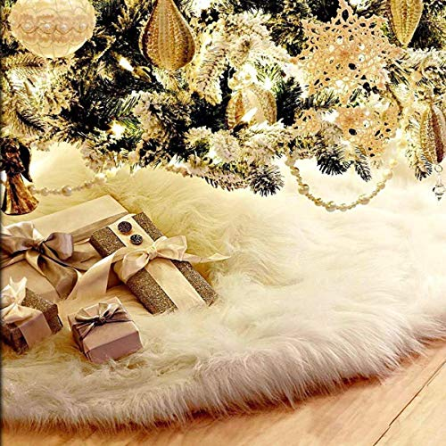 CYKJ 48 inches Faux Fur Christmas Tree Skirt - Snowy White Tree Skirt for Christmas Decorations