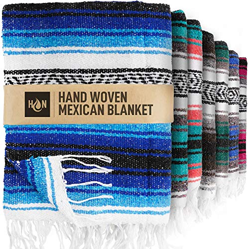 Handcrafted Mexican Blankets, Artisanal Handwoven Serape Blanket, Authentic Falsa Blanket, Great As Beach Blanket, Camping Blanket, Picnic Blanket, Outdoor Blanket, Boho Throw Blankets, King Turquoise