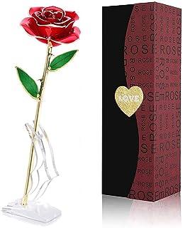 FUNINGEEK Rosa 24K,Rosa Eterna Flores Chapadas en Oro con Caja de Regalo para el Día de San Valentín Día de la Madre,Navidad,Aniversario,Esposa,Mom (Rojo)