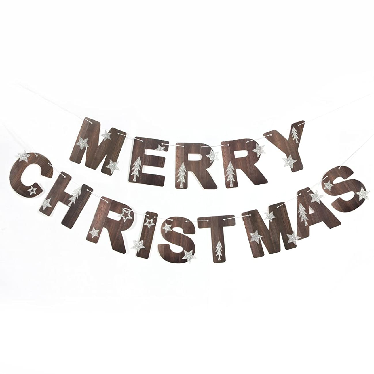Merry Christmas Banner Glitter Stars Trees Holiday Garland for Christmas Decoration Party Props Nature Color SUNBEAUTY
