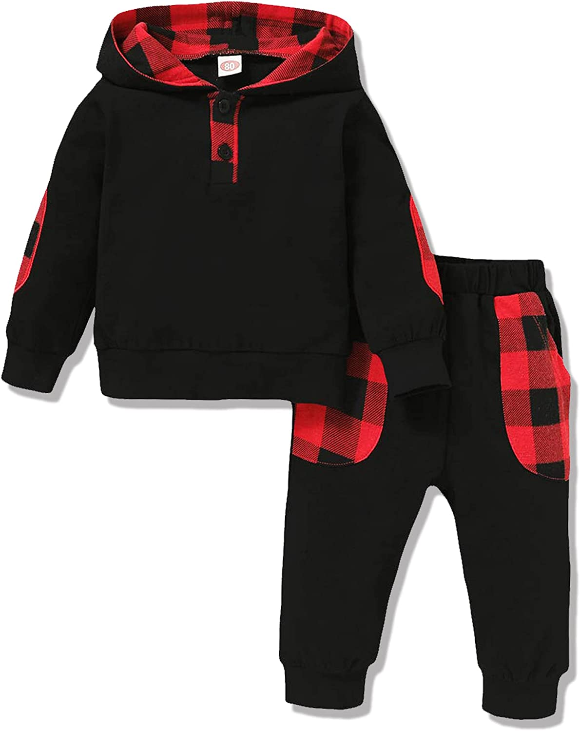 Baby Boys Clothes Toddler Boy Sweatsuits Hooded Long Sleeve Plaid Printed Hoodie Sweatshirt Long Camo Pants 2PCS Outfits