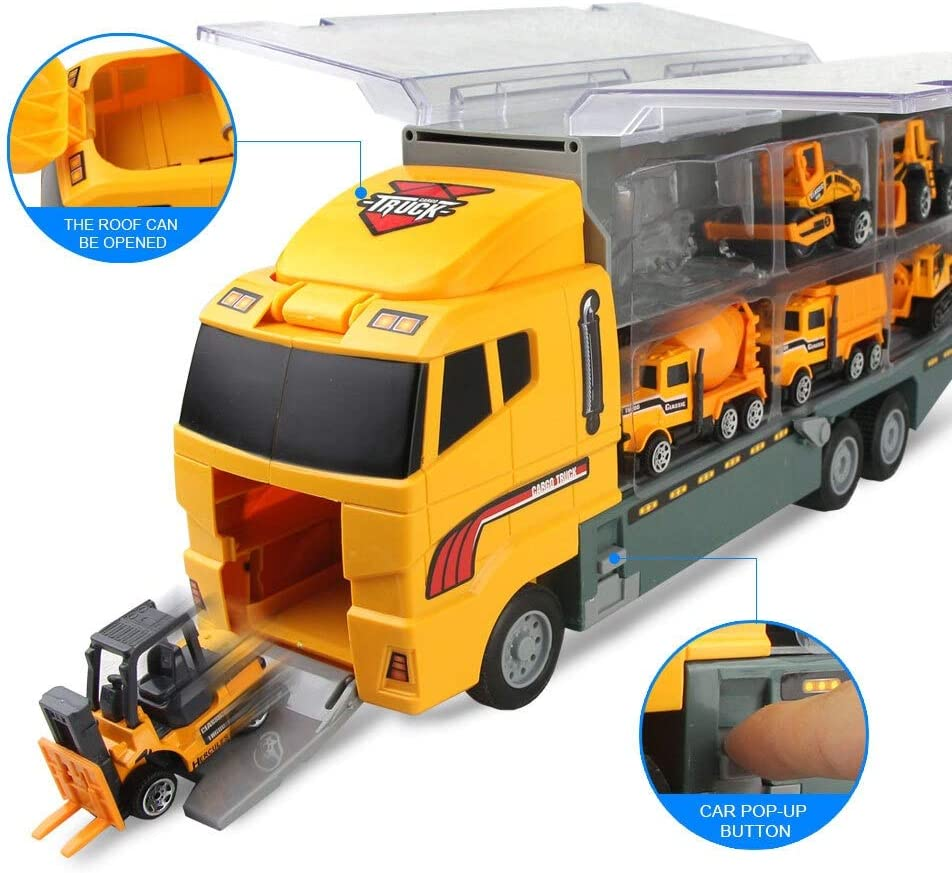 Big Truck & 6PCS Mini Alloy Diecast Car Model 1:64 Schaal Toys Voertuigen Dragende vrachtwagen engineering Car Toys For Kids Boys} (Color : Red C) Green B