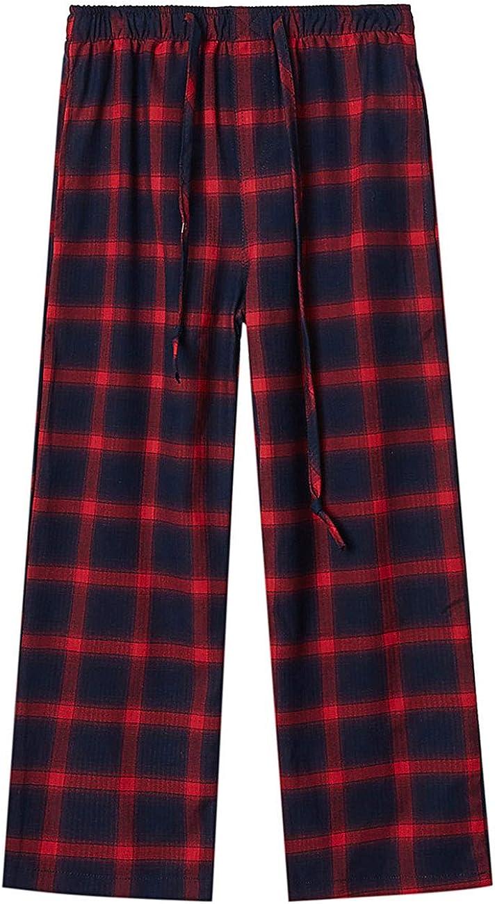 DDILKE Boys Plaid Pajama Pants, Soft Long Lounge Check Pant Sleep Bottoms, Red and Black Style, L