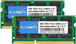 TECMIYO - Módulo de memoria RAM de 16 GB (2 x 8 GB) PC3L 12800s Sodimm DDR3L / DDR3 1600 MHz CL11 PC3-12800 1.35V/1.5V 204 pines sin ECC sin búfer SODIMM para Mac, Intel y sistema AMD