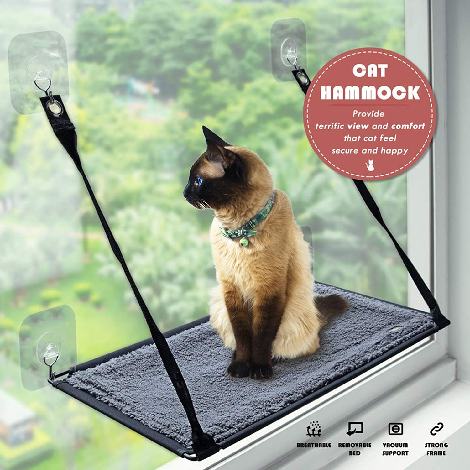 Petfactor Cat Window Perch Seat with Excellent Selfadhisive Transparent Hooks Grey